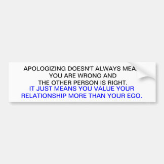 APOLOGY BUMPER STICKER