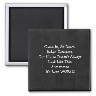 Apology for Messy House Retro Magnet 2 Inch Square Magnet