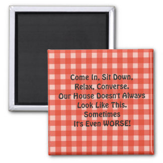 Apology for Messy House Retro Magnet Red Checked 2 Inch Square Magnet