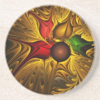 apophysis-421987 GOLDEN SCROLLS LEAVES DIGITAL BEA Beverage Coasters
