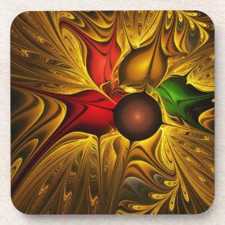 apophysis-421987 GOLDEN SCROLLS LEAVES DIGITAL BEA Drink Coasters