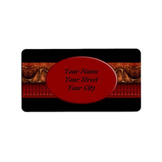 Apophysis Fractal Border ART - antique red Address Label