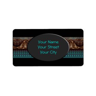 Apophysis Fractal Border ART - antique turquoise Address Label