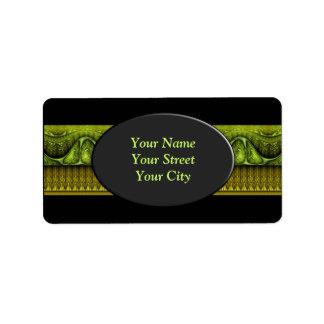 Apophysis Fractal Border ART - green yellow Address Label