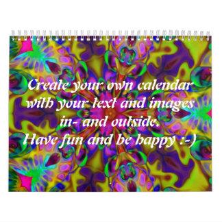 Apophysis Kaleidoscope II + your text & images Wall Calendars