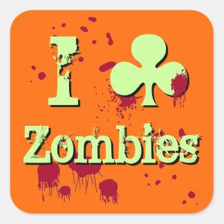 Aporreo a zombis pegatina cuadrada