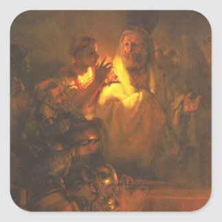 Apostle Peter denied Christ by Rembrandt Square Sticker