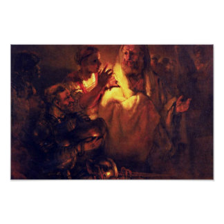Apostle Peter Denies Christ,  By Rembrandt Harmens Poster