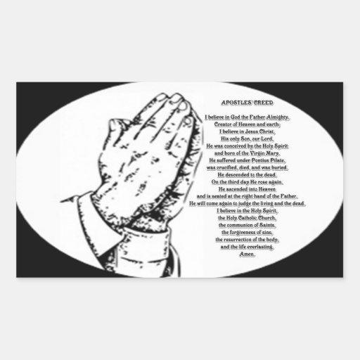 apostles creed prayer rectangular sticker