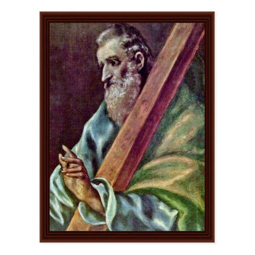 Apóstol santo Andrew por el EL de Greco Tarjeta Postal