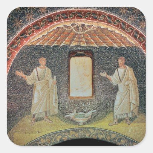 Apóstoles, siglo V (mosaico) Pegatina Cuadrada