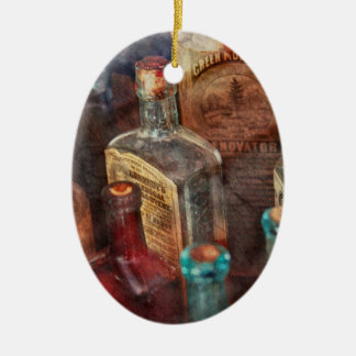 Apothecary - A Series of bottles Double-Sided Oval Ceramic Christmas Ornament