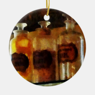 Apothecary Bottles Double-Sided Ceramic Round Christmas Ornament