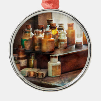 Apothecary - Chemical Ingredients  Round Metal Christmas Ornament