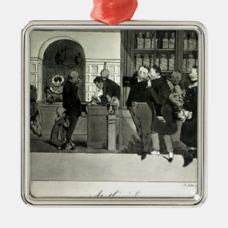 Apothecary, engraved by Delpech Square Metal Christmas Ornament