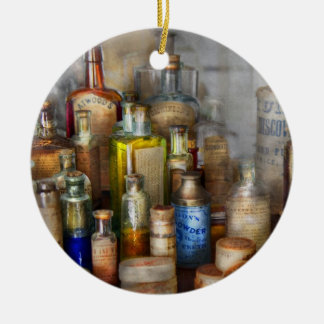Apothecary - For all your Aches & Pains  Double-Sided Ceramic Round Christmas Ornament