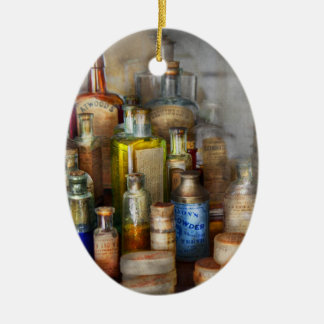 Apothecary - For all your Aches & Pains  Double-Sided Oval Ceramic Christmas Ornament