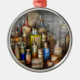 Apothecary - For all your Aches & Pains  Round Metal Christmas Ornament
