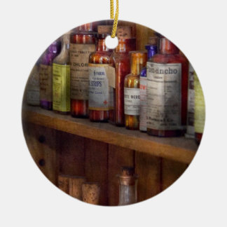 Apothecary - Inside the Medicine Cabinet Double-Sided Ceramic Round Christmas Ornament