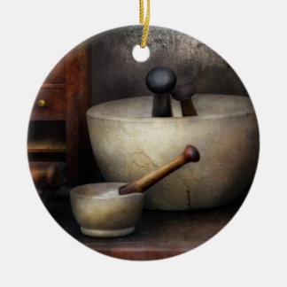 Apothecary - Pestle & Drawers Double-Sided Ceramic Round Christmas Ornament