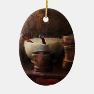 Apothecary - Pick a Pestle  Double-Sided Oval Ceramic Christmas Ornament