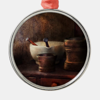 Apothecary - Pick a Pestle  Round Metal Christmas Ornament