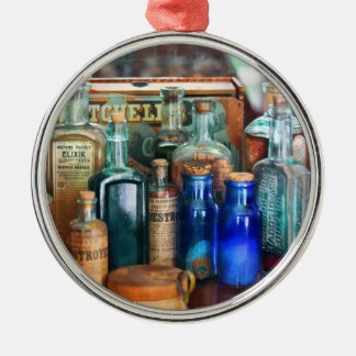 Apothecary - Remedies for the Fits Round Metal Christmas Ornament