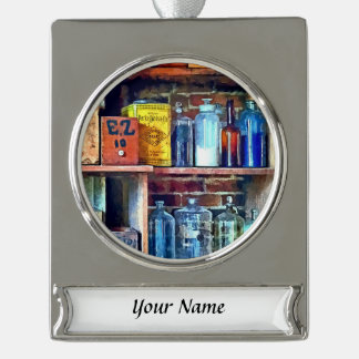Apothecary Stockroom Silver Plated Banner Ornament