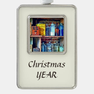 Apothecary Stockroom Silver Plated Framed Ornament