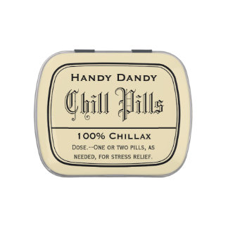 Apothecary Vintage Druggist Label Chill Pill Funny Jelly Belly Candy Tin