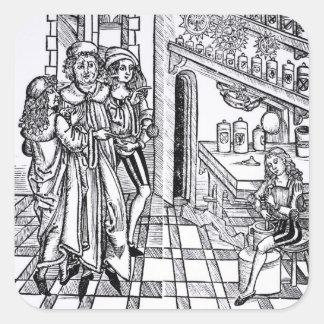 Apothecary's shop, from 'Das Buch der Cirugia' pub Square Sticker
