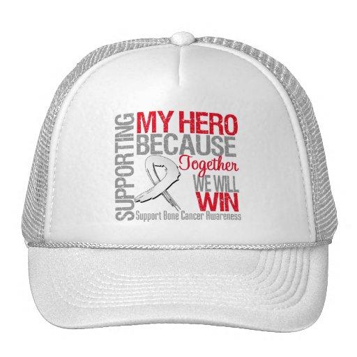 Apoyando a mi héroe - conciencia del cáncer de hue gorros bordados