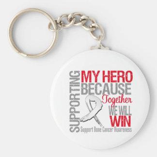 Apoyando a mi héroe - conciencia del cáncer de hue llavero