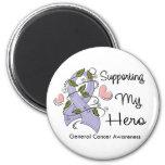 Apoyando a mi héroe - conciencia del cáncer imán de nevera