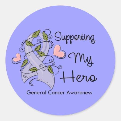 Apoyando a mi héroe - conciencia del cáncer pegatinas redondas