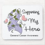 Apoyando a mi héroe - conciencia del cáncer alfombrillas de ratones