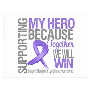 Apoyando a mi héroe - conciencia del linfoma de tarjeta postal