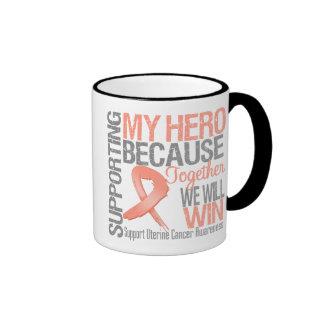 Apoyando a mi héroe - conciencia uterina del cánce taza a dos colores