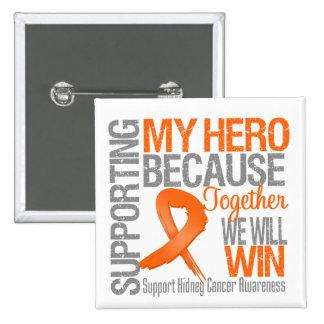 Apoyando a mi héroe v2 - conciencia del cáncer del pin cuadrado