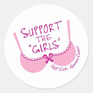Apoye a los chicas pegatina redonda