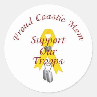 Apoye a nuestra mamá de Coastie de las tropas (la Pegatina Redonda
