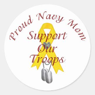 Apoye a nuestra mamá de la marina de guerra de las pegatina redonda