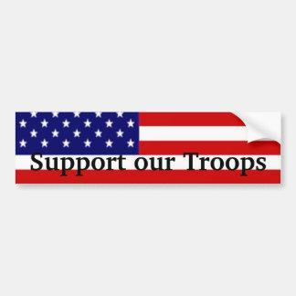 Apoye a nuestras tropas etiqueta de parachoque