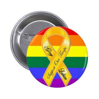 ¡Apoye a nuestras tropas del homosexual y lesbiana Pin Redondo De 2 Pulgadas