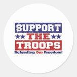 Apoye a nuestras tropas etiqueta redonda