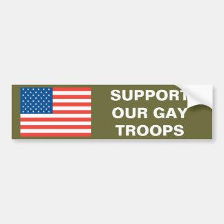 Apoye a nuestras tropas gay pegatina para auto