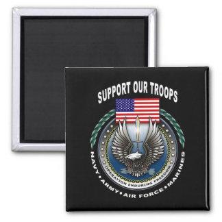 Apoye a nuestras tropas imán cuadrado