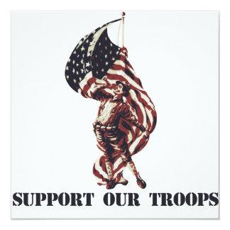 """Apoye a nuestras tropas invitación 5.25"""" x 5.25"""""""