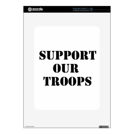apoye a nuestras tropas iPad calcomanía