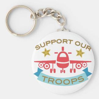 Apoye a nuestras tropas llavero redondo tipo pin